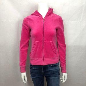 Juicy Pink Rhinestone Zip Up Hooded Sweatshirt S